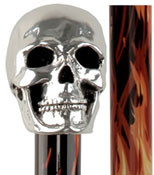 Sterling Silver Skull Walking Stick w/ Black Flame detailed Aluminum Shaft R84085