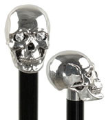 Sterling Silver Skull Walking Stick with Swarovski Crystal Eyes w/ Black Beechwood Shaft R84190