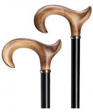 Elegant Scorched Maple Anatomical Derby Handle Walking Cane  H9763500