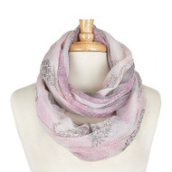 Floral Print Infinity Scarf - Pink