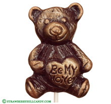 """Be My Honey"" Choco Bear Hard Candy Lollipop"