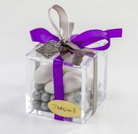 Purple Ribbon Plexiglass Favor Box