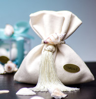 Seashell Decorated Linen Favor Bag