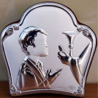 Communion Boy Plaque in Italian 925 Silver