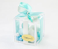 Plexiglass Favor Box w/ Satin Ribbon Color Choice