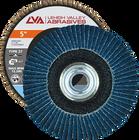 "5"" x 5/8""-11 Threaded Zirconia Flap Disc Type 27 Flat | 80 Grit T27 | LVA CFFAS50S080ZC"