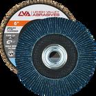 """6"""" x 5/8""""-11 Threaded Zirconia Flap Disc Type 27 Flat   60 Grit T27   LVA CFFAS60S060ZX"""