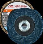 "6"" x 5/8""-11 Threaded Zirconia High Density Flap Disc Flat   40 Grit T27   LVA CFFTS60J040ZX"