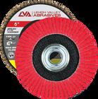 "6"" x 5/8""-11 Threaded Ceramic Flap Disc Type 27 Flat   36 Grit T27   LVA CFFAS60S036CP"
