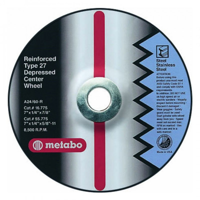 "4.5"" x 1/4"" x 7/8"" A24R T27 Grinding Wheel 