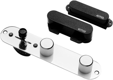 EMG T System Active Telecaster Pickups & Pre-Wired Control Plate Black