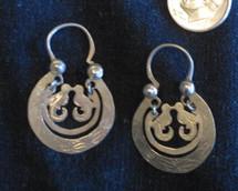 Mayan Antique Silver Earrings #26