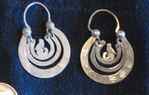 Mayan Antique Silver Earrings #25