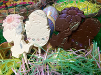 Two Free Chocolate  Easter Lollipops with $30 Purchase.