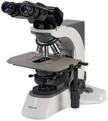 Accu-Scope 3025 Trinocular with AIS Infinity Plan Objectives. Shown with optional Ceramic Stage and Ergo head