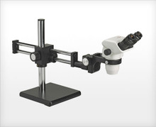 Accu-Scope 3075 Trinocular Zoom Stereo Microscope on Ball Bearing Boom Stand, shown with Optional Camera