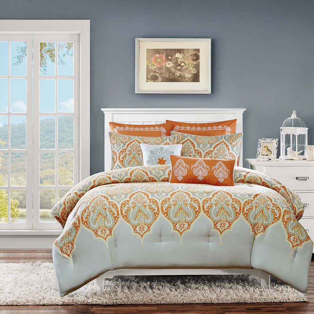 Orange grey updated paisley comforter set and decorative for Pictures of comforters