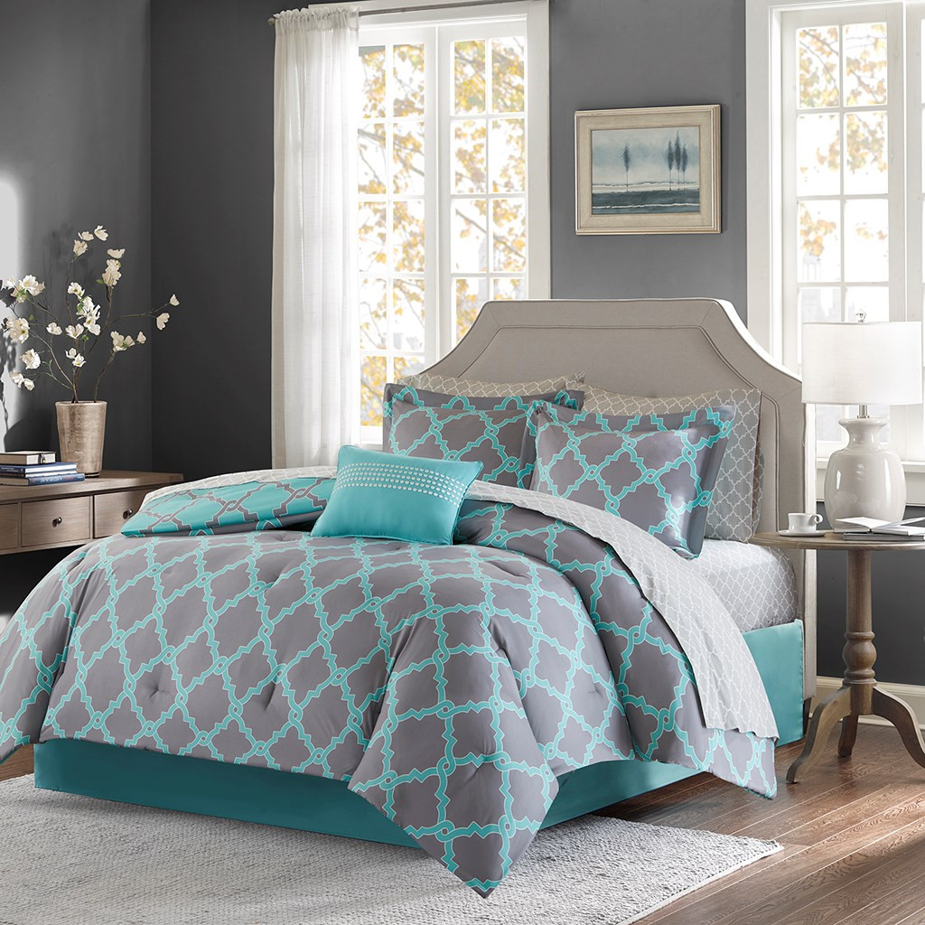 Aqua & Grey Reversible Fretwork Comforter Set AND Matching