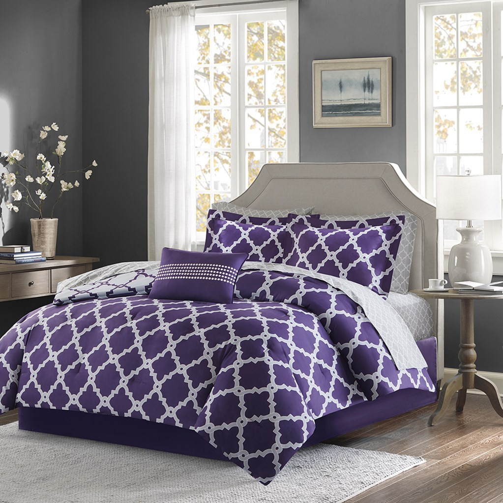Purple Amp Grey Reversible Fretwork Comforter Set And