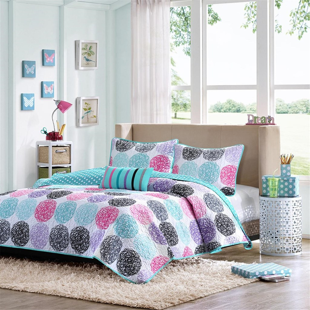 Pink Amp Teal Polka Dots Reversible Coverlet Quilt Set And