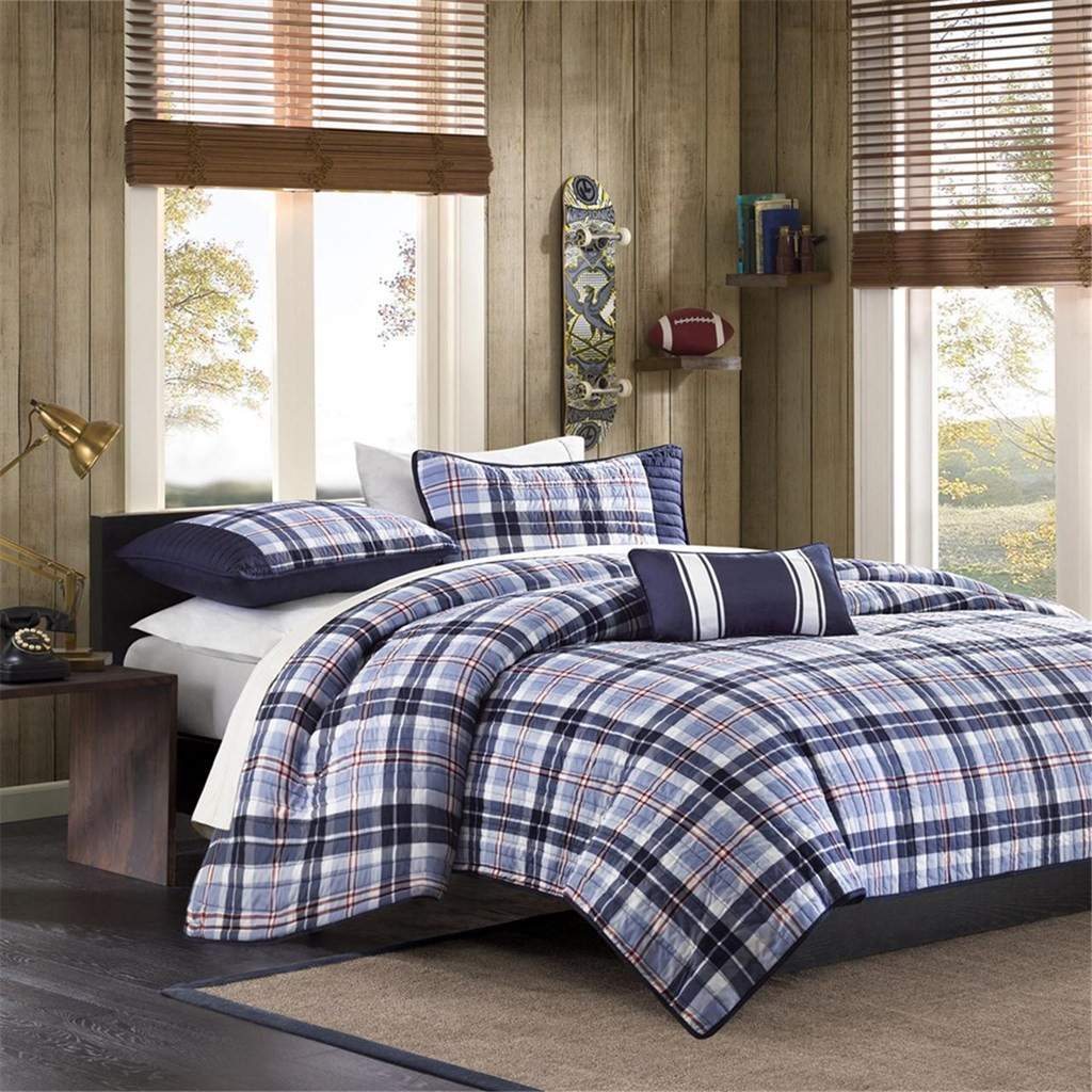 Blue Amp White Plaid Coverlet Quilt Set And Decorative
