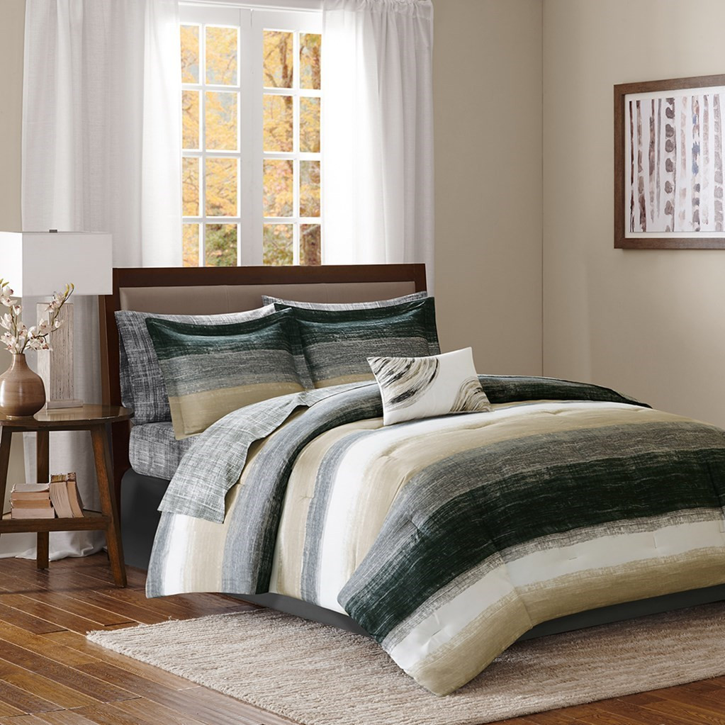 Black taupe white stripes comforter set and matching for Black white taupe bedroom