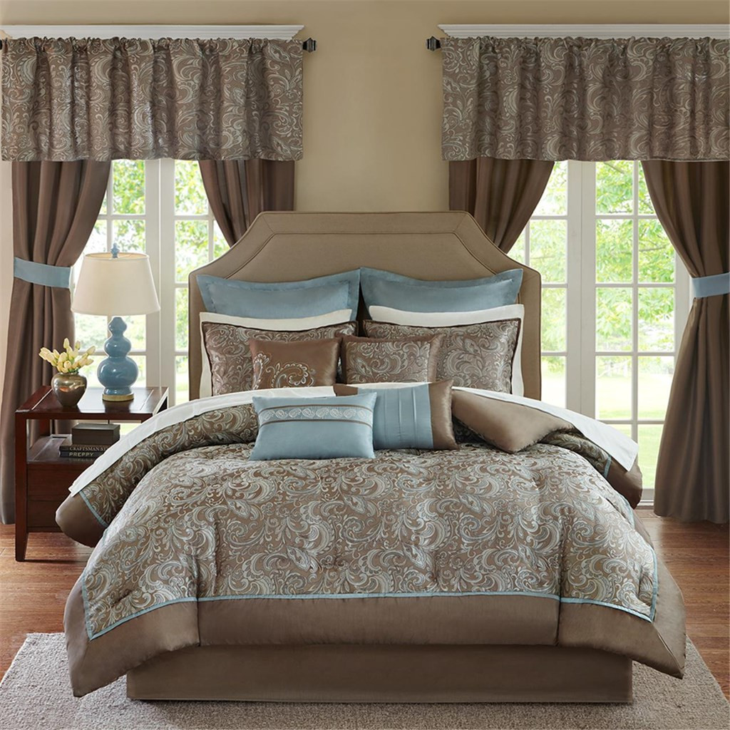 24pc Blue Brown Paisley Comforter Set Sheets Pillows Curtains And More Brystol Blue