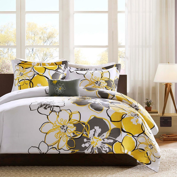 Antique Yellow Grey Amp White Floral Comforter Set And