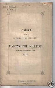 Dartmouth College University Catalog 1854