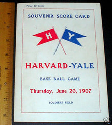Harvard v. Yale Baseball Scorecard 1907