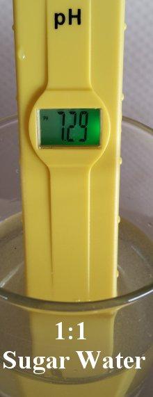 pH balance of sugar water for bees