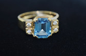 Womens 18K Emerald Cut Topaz Ring - LC300