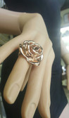 Womens 14K Rose Gold Plated Silver Hollow Blossomed Flower Ring - S21