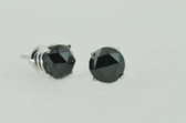 2.50 Carat Black Round Cut Diamond Stud Earrings - EK39