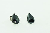 2.72 Carat Black Pear Shape Rose Cut Diamond Stud Earrings - EK41