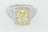 Womens Radiant Cut Natural Fancy Yellow Diamond Ring - EK46