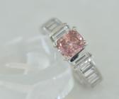 Cushion Cut Fancy Pink & White Diamond Ring - EK47