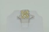 2.58 Carat Natural Fancy Light Yellow Radiant Cut Diamond Ring - EK54