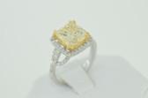 5.13 Carat Natural Fancy Yellow Princess Cut Diamond Ring - EK58