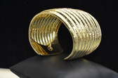 Womens Solid 18K Yellow Gold Rimmed Cuff - LC311