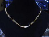 18K Two Tone Hollow Mariner Collar Necklace, Italian Vintage Piece - LC338