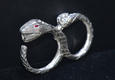 Silver Snake Head Dual Band Ring