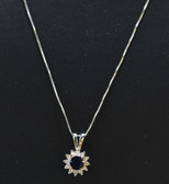 Womens Diamond Genuine Sapphire Gemstone Flower Pendant - LC327