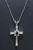 Womens Genuine Sapphire Gemstone Cross Pendant - LC326