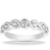 Contoured Bezel Set Half Diamond Wedding Band