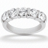 Round Brilliant 5 Stone Bar Set Diamond Wedding Band - WB299-5