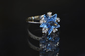 14K White Gold Lab-created Star Shape Aquamarine Ring with Cubic Zirconia - LC337