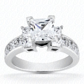 As Shown : Princess Cut Diamond Measures 6 x 6mm (Approximately 1.25 tcw)