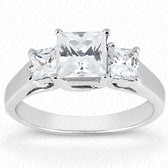 As Shown : Princess Cut Diamond Measures 6 x 6mm (Approximately 1.25 tcw)