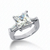 As Shown : Princess Cut Diamond Measures 8.5 x 8.5mm (Approximately 2.25 tcw)